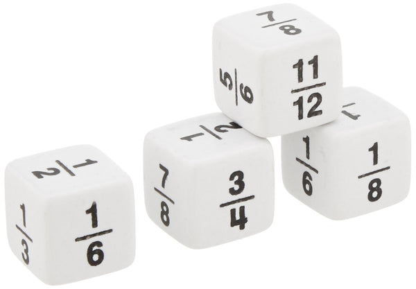 Math Fraction Die 1/2 to 11/12