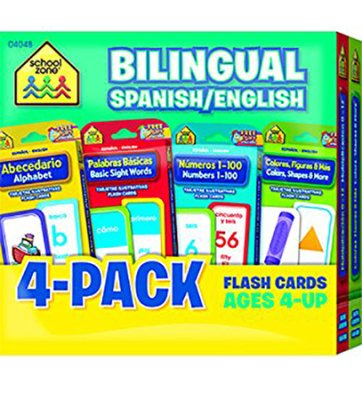 Bilingual Flash Cards 4-Pack: Spanish/English