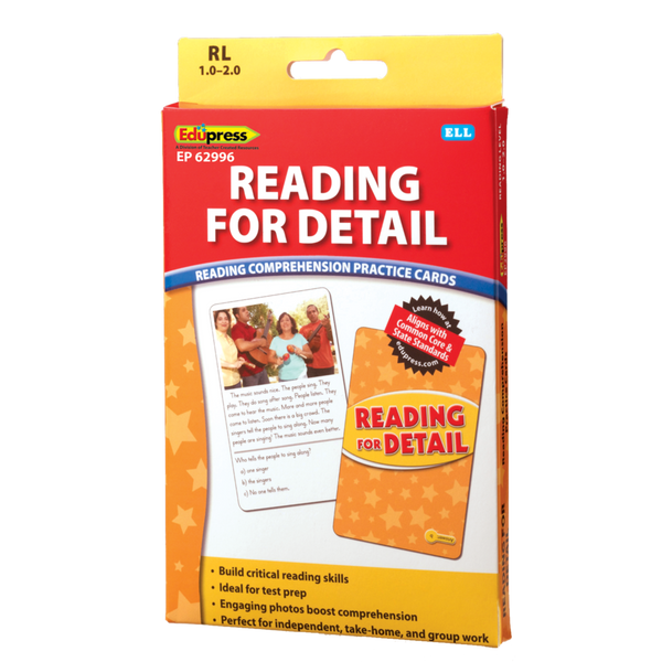 Reading Comprehension Practice Cards: Reading For Detail RL 1.0-2.0