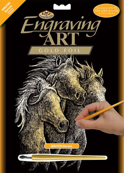 Engraving Art - Horses (Gold)