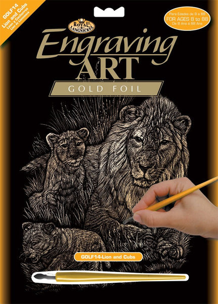 Engraving Art - Lions & Cubs (Gold)