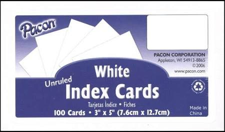 3X5 Index Cards, Blank