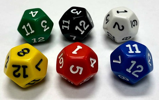 12 Sided Dice Set of 10