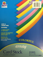 Colored Card Stock Paper 10 color 50 sheets