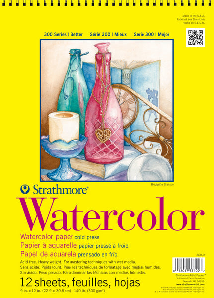 "Strathmore Watercolor Spiral Paper Pad 9""x12"" 12 Sheets"
