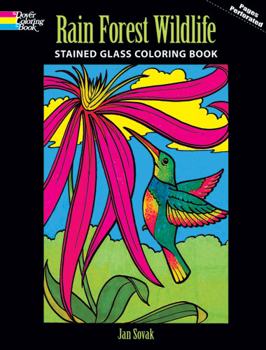 Rain Forest Wildlife Stained Glass Coloring Book