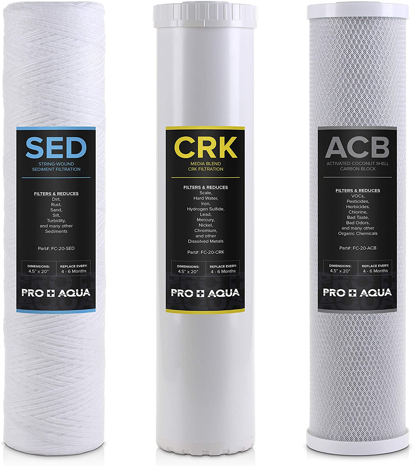 Pro+Aqua - Whole House Heavy Metals Well Water Filter Replacement Set