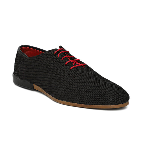 Men's Black Casual Leather  Nubuck swede Lace-up Shoe with Rubber sole