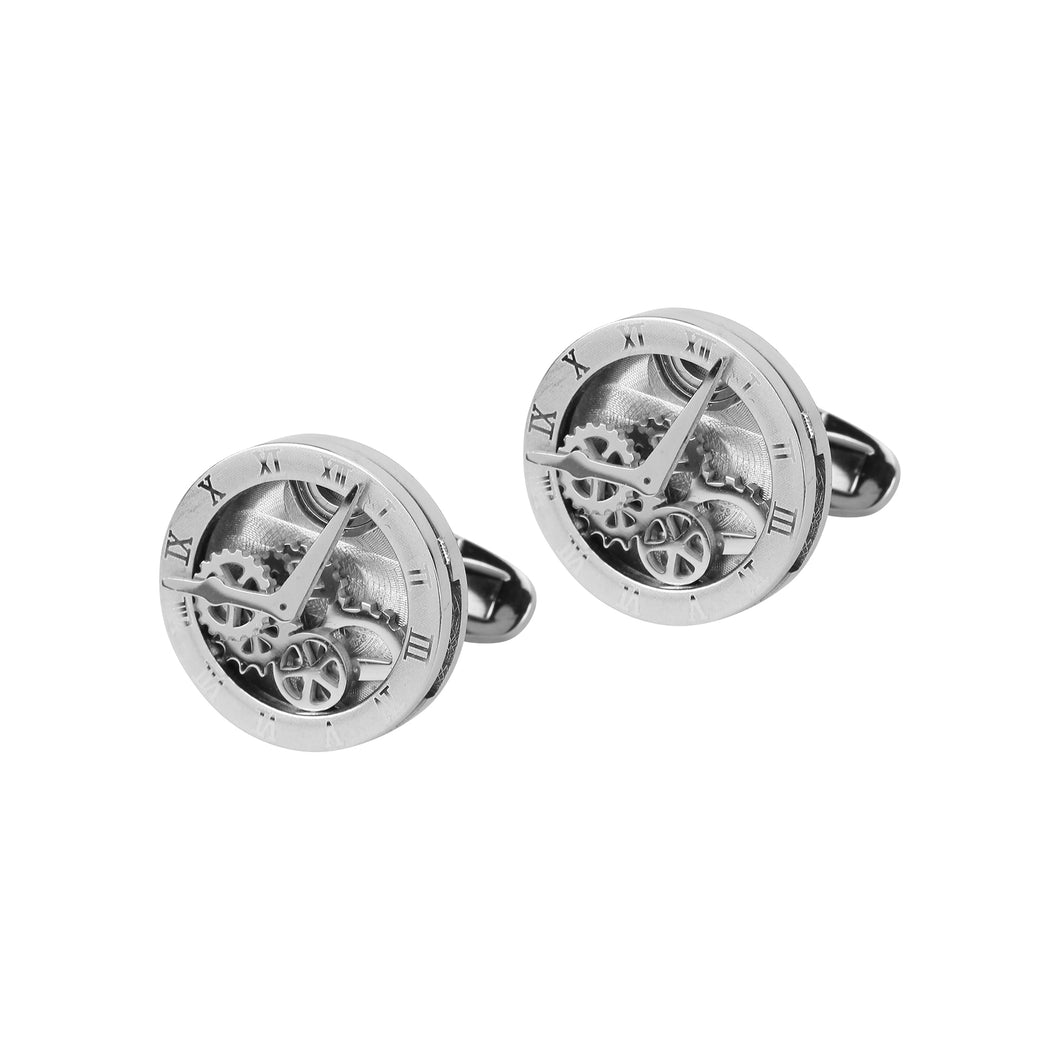 A pair of metal cufflinks
