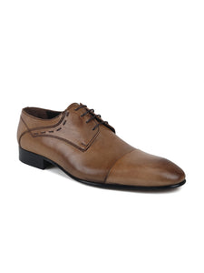 JOE SHU Men's Leather Lace-up Derby Shoe with Cap Toe
