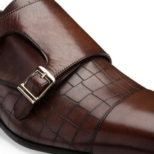 Load image into Gallery viewer, Men's Leather Double Monk Shoes with Croco Finish and a Cap-toe