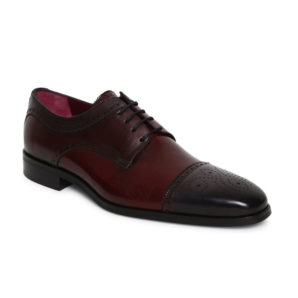 Men's Genuine Leather Dual Tone Lace-up shoes with brogue