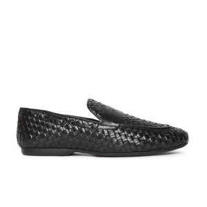 Men's Casual Moccasin Loafers with a Rubber sole in weave finish