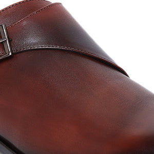 Men's Genuine leather Slip-on Shoes with Single Monk Strap