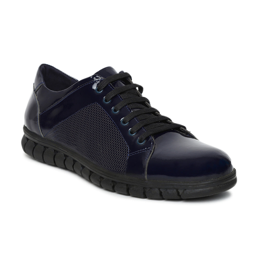 Men's Blue Casual Handcrafted Leather Lace-up Sneaker