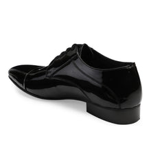 Load image into Gallery viewer, Men's Black Patent Leather Cap-toe Style Lace-up Shoes