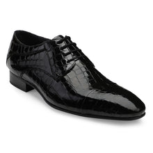 Load image into Gallery viewer, Men's Black Croco Pattern Patent Leather Lace-up Shoes with Cap-toe
