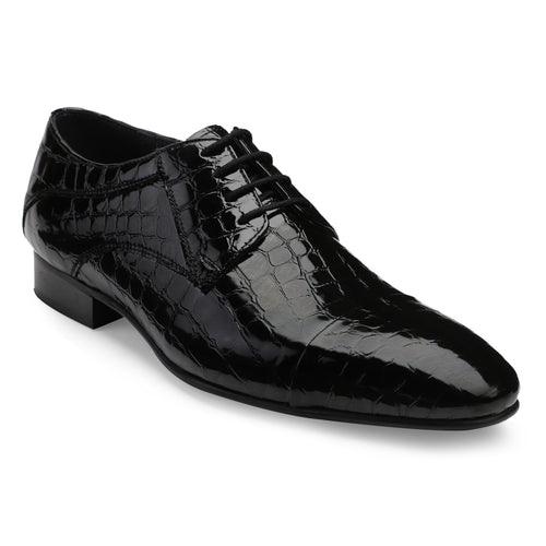 Men's Black Croco Pattern Patent Leather Lace-up Shoes with Cap-toe