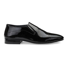 Load image into Gallery viewer, Men's Black Patent Leather Cap-toe Slip-on Shoes