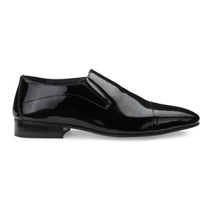Men's Black Patent Leather Cap-toe Slip-on Shoes