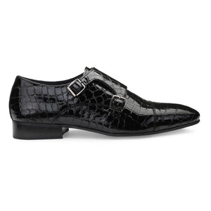Men's Croco Pattern Patent Leather Double Monk Shoes with Cap-toe Style