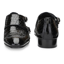 Load image into Gallery viewer, Men's Croco Pattern Patent Leather Double Monk Shoes with Cap-toe Style