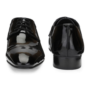 Men's Black Patent Leather Cap-toe Style Lace-up Shoes