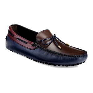 Men's Casual Triple Tone Leather Loafers