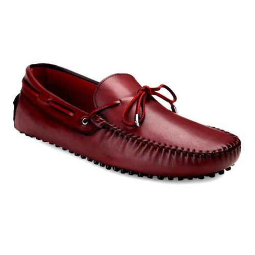 Men's Red Casual Leather Loafers