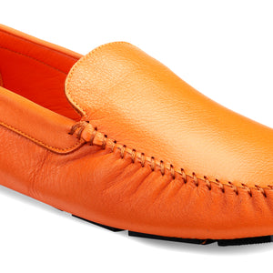 Men's Orange Casual Leather Loafers