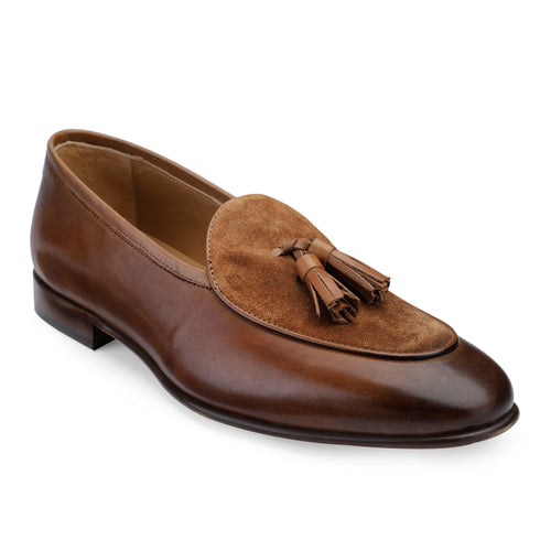 Men's Leather Tan Tasseled Slip-on Shoes in Suede Leather