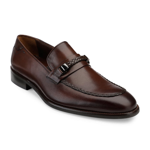 Men's Brown Leather Slip-on Shoes with Chord stitch and Buckle