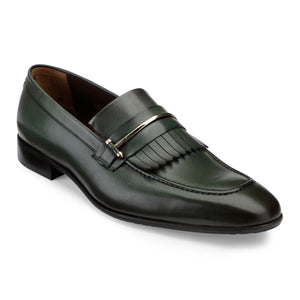 Men's Leather Slip-on Shoes with Fringe and Buckle