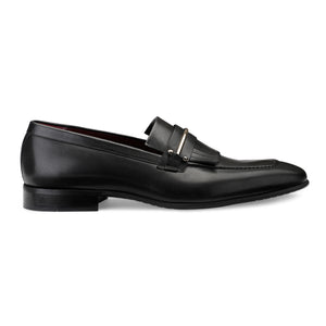 Men's Leather Fringe Slip-on Shoes with Metal Buckle