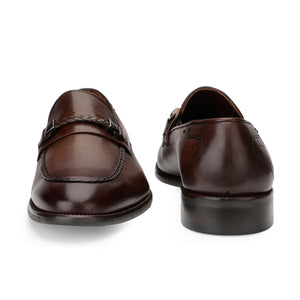 Men's Leather Slip-on Shoes with Chord stitch and Buckle