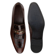Load image into Gallery viewer, Men's Leather Slip-on Shoes with Croco and buckle