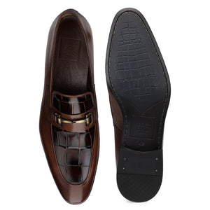 Men's Leather Slip-on Shoes with Croco and buckle
