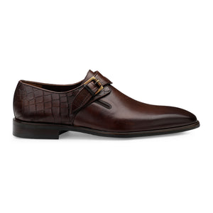Men's Leather Slip-on Shoes with Single Monk Strap