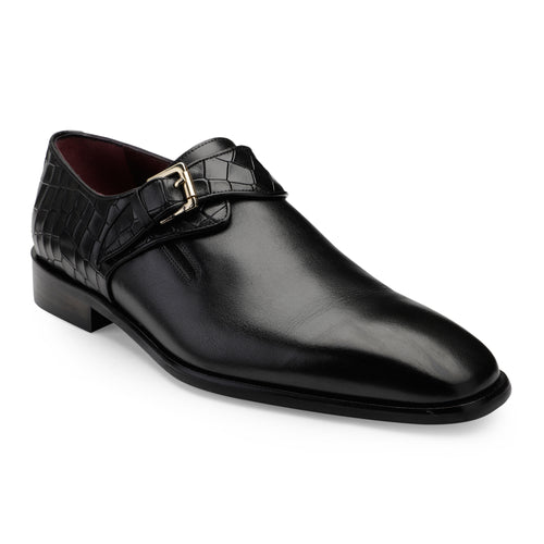 Men's Leather Single Monk Shoes with Croco Finish at back