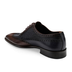 Men's Genuine Leather Lace-up Shoes in Dual tone with classic brogues