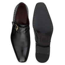 Load image into Gallery viewer, Men's Leather Single Monk Shoes with Croco Finish at back