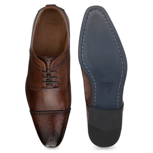 Men's Derby Cap-toe Leather Lace-up Shoes with Brogue
