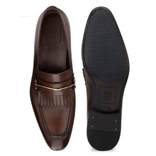 Load image into Gallery viewer, Men's Leather Slip-on Shoes with Fringe and Buckle