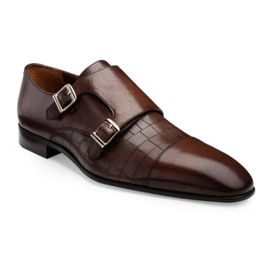 Men's Leather Double Monk Shoes with Croco Finish and a Cap-toe