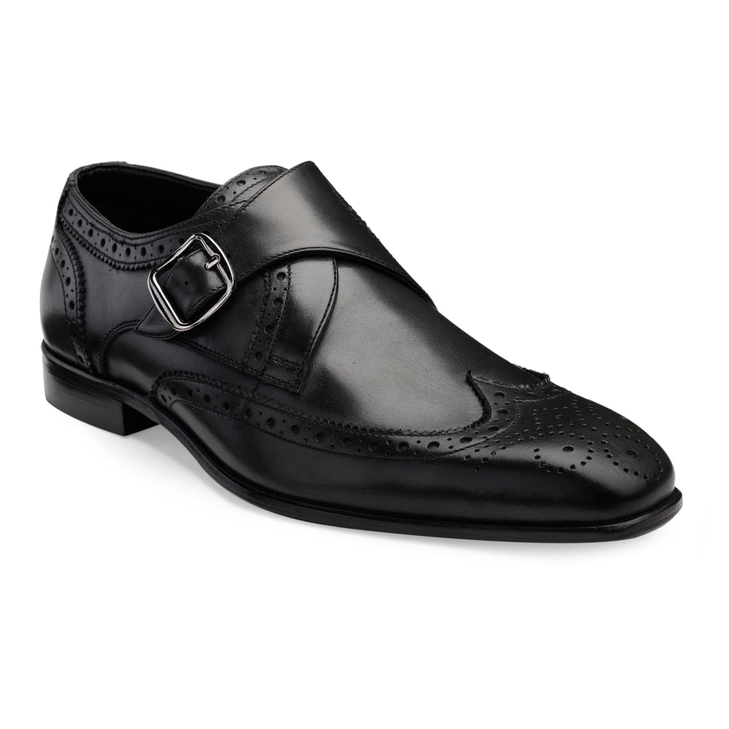 Men's Genuine Leather Single Monk Shoes with Wing-tip Brogue in Neolite Sole