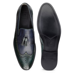 Men's Genuine Leather Fringe with Tassel Dual tone Slip-ons