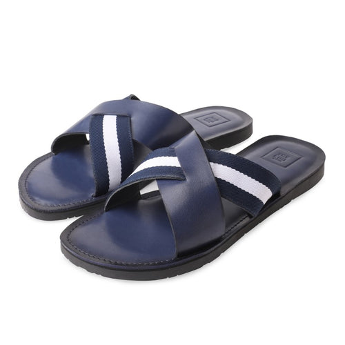 Men's Genuine Leather Casual Slipper Blue