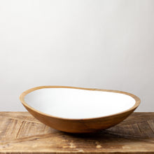 Load image into Gallery viewer, Mango Wood & White Enamel Bowl Xl