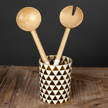 Load image into Gallery viewer, Serving Set, Traditional Shape, Mango Wood/enamel