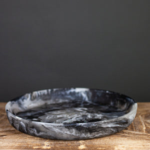 Black Swirl Resin Round Platter, Medium